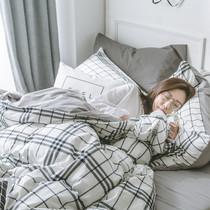 床1.2m床学生宿舍单人三件套1.8m冬季北欧简约磨毛床单被套四件套