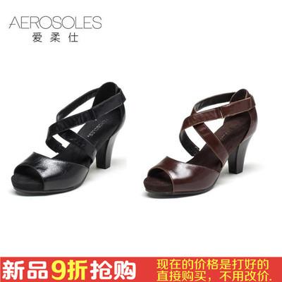 Aerosoles/爱柔仕牛皮舒适粗跟高跟露趾凉鞋女高跟鞋 1915303048