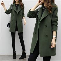 2019秋冬季新款韩版气质女装毛呢外套修身显瘦大码中长款呢子大衣