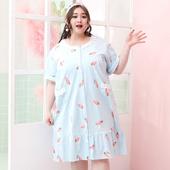 开身胖mm大码 甜美纯棉卡通加肥短袖 夏季女士韩版 睡裙200斤家居服