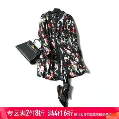 秋冬新款优雅时髦 印花荷叶边拼布棉服外套女  MD 16W4048