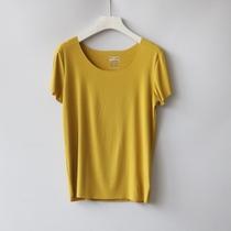 SF YUAN大圆领螺纹天丝棉竖坑条T恤女软糯短袖面膜t恤上衣大码黄