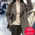 时尚 气质格纹大衣百搭宽松羊毛人字纹外套 新款 韩版 XHM.hanmei冬装