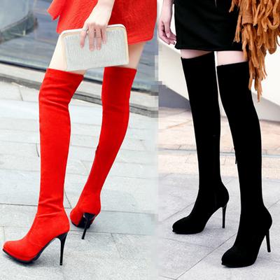 超高跟夜店性感尖头长筒靴细跟显瘦腿靴高筒女靴大码弹力过膝长靴