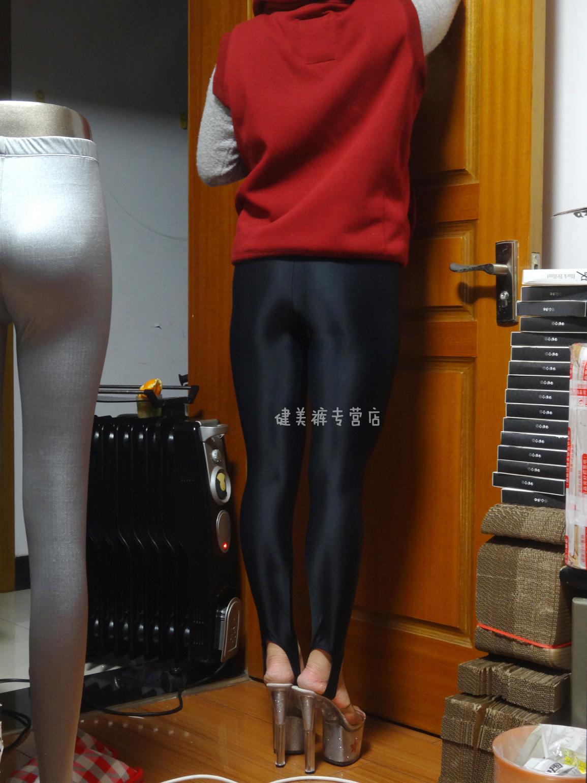 黑色健美裤视频_健美裤踩脚裤紧身裤打底裤靴裤黑色进口氨纶四面弹力
