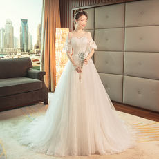 126d6b6c09 Light wedding dress 2018 new Korean style shoulder thin slimming simple bride  married a small tail