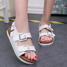 拖鞋 学生潮 平底大码 女夏罗马软木凉鞋 韩版 2018夏拖鞋