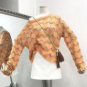 【直播@1】2018新款时尚百搭潮流波纹女装韩版镂空长袖套头针织上