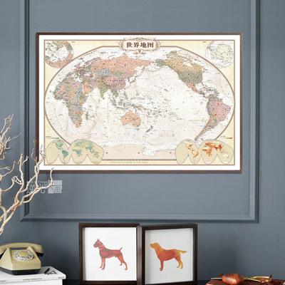 复古世界地图挂图中国有框地图可标注办公室地图挂画书房装饰画是什么档次