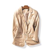 36506春秋新款气质简约一粒扣修身休闲时尚PU皮西装短外套10月11