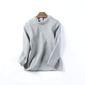 秋冬新款 纯色套头上衣加厚气质九分袖 14233 韩版 女装 卫衣3月23日
