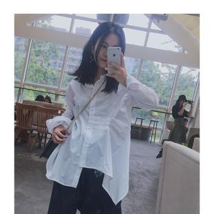 sessrina不规则长袖衬衫cdg褶皱小众设计师山本耀司cos风宽松棉
