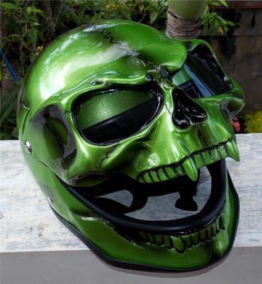 美国正品哈雷摩托车机车头盔骷髅头怪兽鬼面罩全脸3D绿色全盔头盔