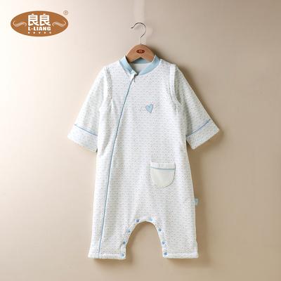 良良婴儿棉质夏季薄款分腿睡袋春秋款有袖防踢被防着凉新生儿睡袋