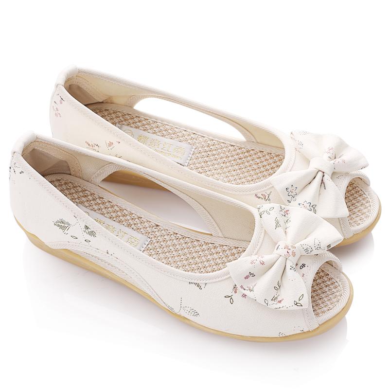 老北京布鞋鱼嘴坡跟凉鞋
