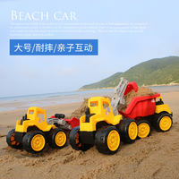 Resistance to children's beach toy car large engineering truck bulldozer excavator forklift dump truck model boy