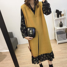 Korean version of the solid color V-neck long knit vest vest female autumn and winter large size sleeveless pullover sweater bottoming dress
