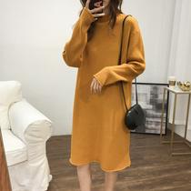 韩版慵懒坑条卷边半高领宽松中长毛衣女大码过膝打底针织连衣裙子