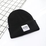 男士毛线帽秋冬季贴标针织帽子情侣户外保暖套头帽双层潮帽女韩版