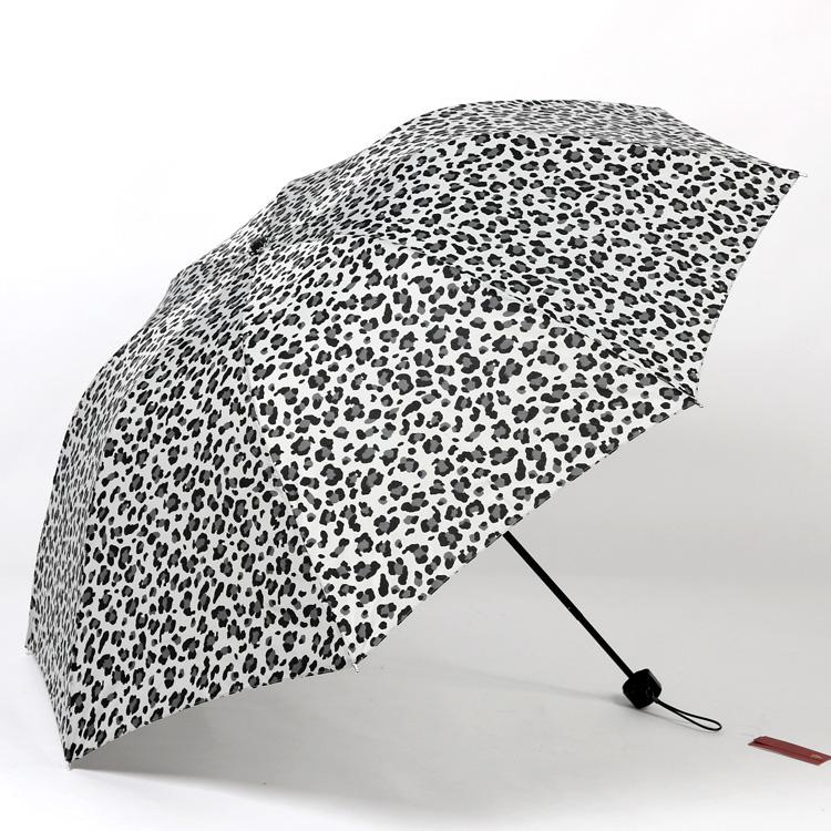 豹纹三折晴雨伞