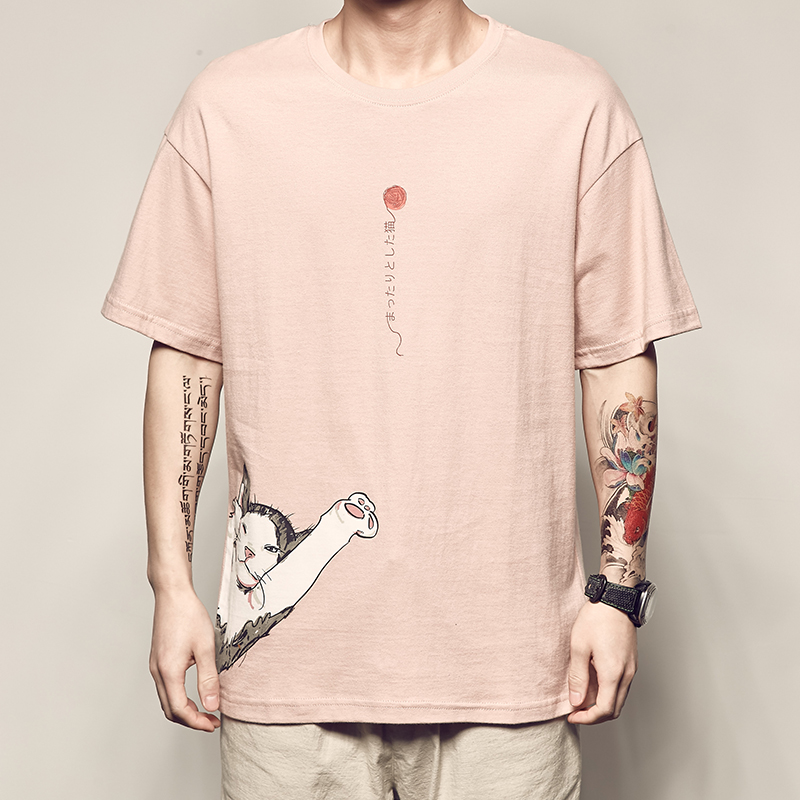 男道夏季新款动漫印花短袖T恤男日系复古休闲TEE宽松个性情侣衣服