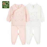 拉比秋季宝宝夹丝保暖内衣和尚服婴儿初生衣服儿童秋衣秋裤2套装