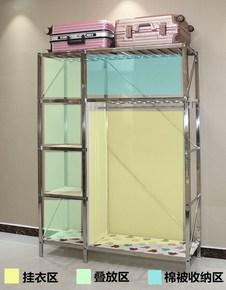 1.3简易不锈钢布艺衣柜经济型双人加固组合大号家用特价折叠钢架