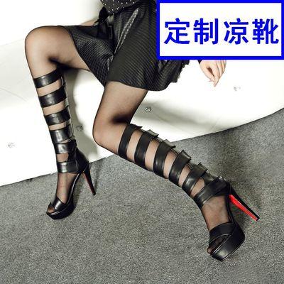 索菲伊罗马凉靴鱼嘴靴子女高筒罗马高筒凉靴凉鞋网靴女夏高跟水台