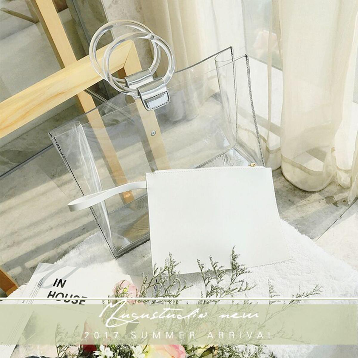 2017夏季新款韩版撞色透明果冻包包白搭时尚女款手提大小子母包潮5元优惠券