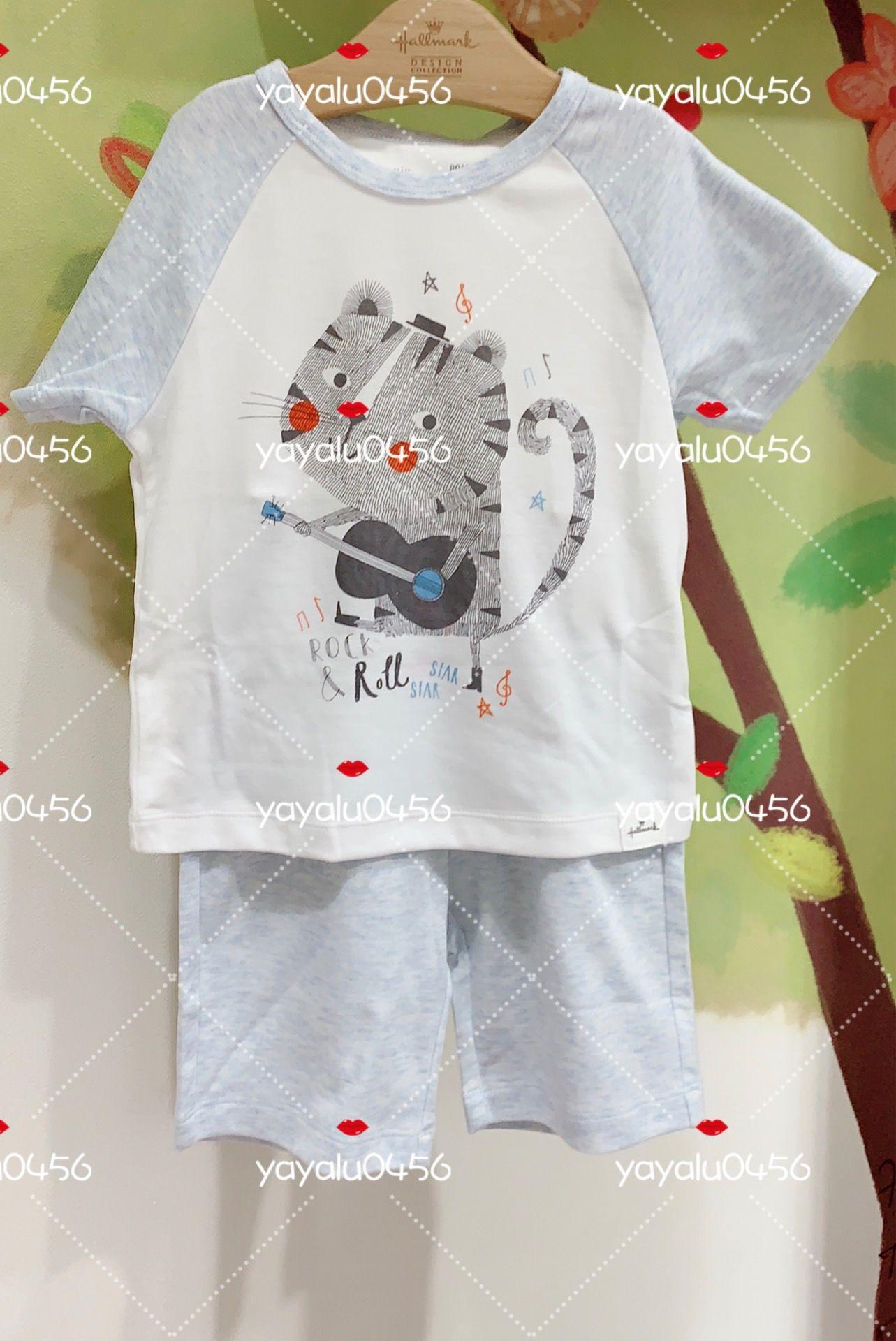 Hallmark贺曼19春夏男童纯棉短袖上衣短裤家居服套装HH1M0201-338