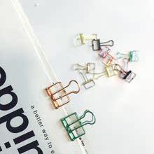 照片明信片彩色夹子6只装 金属镂空燕尾铁夹子 颜色随机