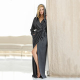 Nightgown for men and women, autumn and winter couples plus long fashion sexy pajamas men's long hooded bathrobes can be worn outside the home service
