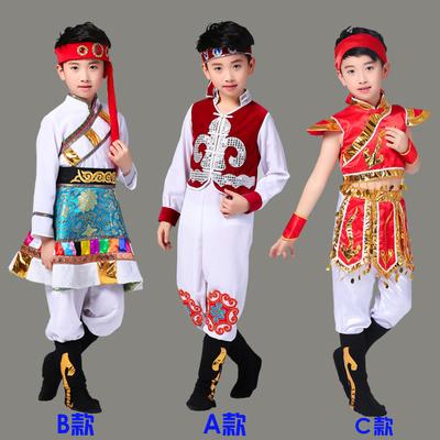 少数民族服装儿童男女蒙古袍藏族舞蹈演出服蒙族男童名族男孩新款