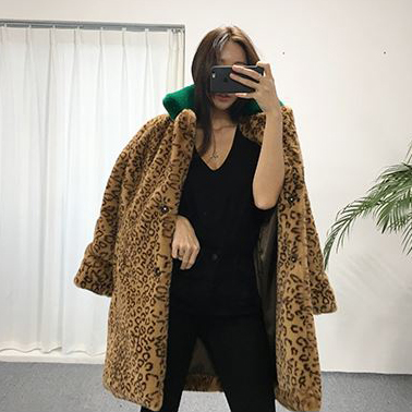 2017 new Korean version of the imitation rabbit fur long leopard fur coat female thick hair
