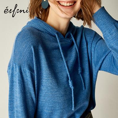 预售伊芙丽针织衫女2019春装新款套头羊毛衫宽松打底衫连帽毛衣女