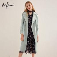 伊芙丽2018春装新款韩版潮双排扣外套宽松长袖长款过膝风衣女