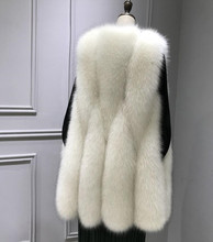 2018 autumn and winter, the new imitation fox fur, grass waistcoat, female middle length Korean version, thin fur and warm vest.