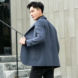 Double-sided suit men's autumn and winter short Korean version of the tide non-cashmere coat youth men's wool wool coat