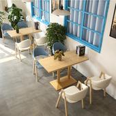 北欧休闲吧快餐奶茶店餐桌书吧咖啡馆图书室座椅餐厅餐饮桌椅组合