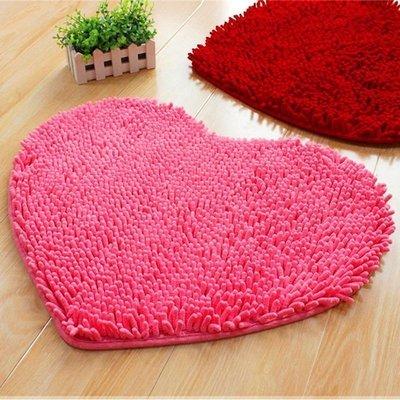 雪尼爾愛心地墊吸水腳墊進門臥室浴室衛生間防滑墊結婚紅地毯墊子新款推薦