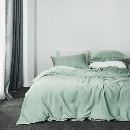 莱赛尔纯天丝四件套夏60支超柔纯色北欧风裸睡被套床单亲肤4件套