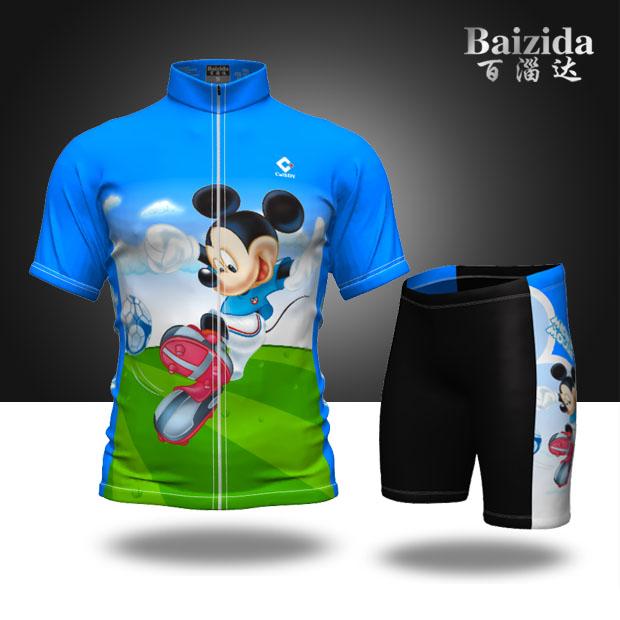 百淄达baizida 夏季短袖儿童卡通骑行服 宝宝轮滑服速滑运动服
