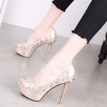 Fishmouth High-heeled Shoes, Fine-heeled Waterproof Platform, Shallow-mouthed Women's Shoes 2019 Korean Version Spring New Sexy Mesh Baitie Single Shoes