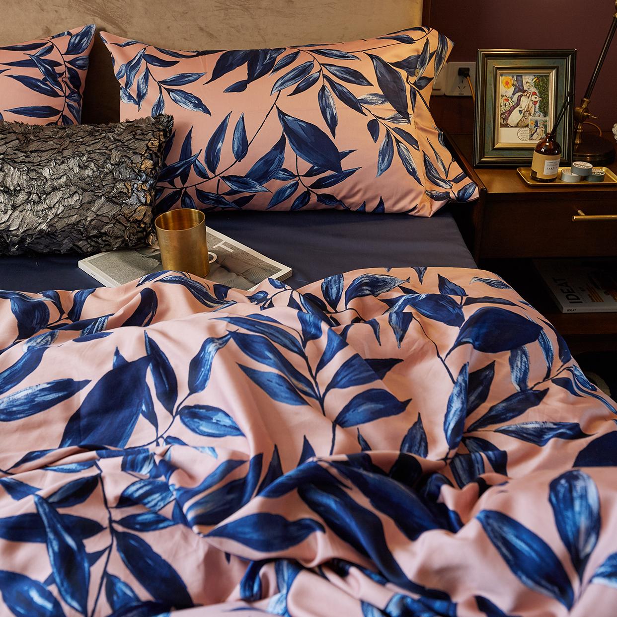 小井家印花贡缎全棉四件套 60支长绒棉柔滑高密纯棉双人床上用品
