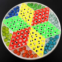 Glass beads jump checkers children students adult marbles checkers flying chess two in one educational toys board games