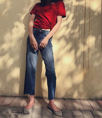 显腿笔笔直!前短后长裤脚 小直筒牛仔裤 0401