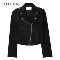 COCO DEAL日系女装纯色翻领短款机车夹克外套35514145