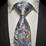 花卉作风 色织真丝领带套装 Ptah Atum 天蓝色花纹婚宴商务领带