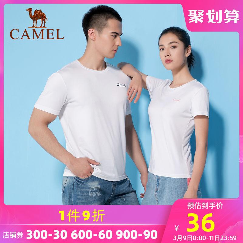 骆驼运动T恤男士宽松短袖跑步衣服透气快干t恤吸湿排汗健身衣女士