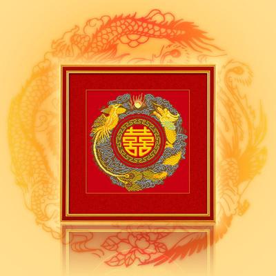 凉风十字绣客厅新款结婚 婚礼喜庆 中国风ZGF-556龙凤双喜 红布